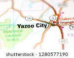 Yazoo City. Mississippi. USA on a map