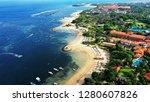 Beautiful drone view of white sand beach and resorts, Tanjung Benoa, South Coast of Bali.