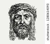 vintage european style jesus... | Shutterstock .eps vector #1280614093