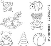Set Of Outlined Baby's Toys...