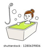 a woman relaxing in the bath   Shutterstock .eps vector #1280639806