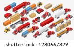 set of various modern freight... | Shutterstock .eps vector #1280667829