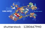 isometric warehouse and...   Shutterstock .eps vector #1280667940