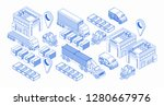 isometric warehouse blue icons... | Shutterstock .eps vector #1280667976