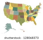 highly detailed political usa... | Shutterstock .eps vector #128068373