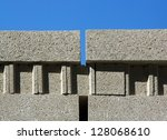 Small photo of Concrete perpend, assembly some on the others