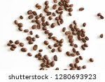 roasted coffee beans isolated... | Shutterstock . vector #1280693923