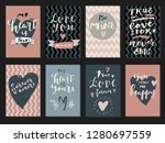 set of love quotes with hearts. ... | Shutterstock .eps vector #1280697559