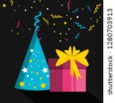 party hat with gift box present | Shutterstock .eps vector #1280703913