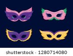 mardi gras card with masks | Shutterstock .eps vector #1280714080