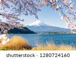 fuji mountain and sakura... | Shutterstock . vector #1280724160