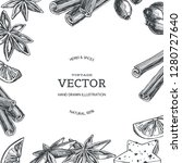 vector vintage background with... | Shutterstock .eps vector #1280727640