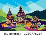 temple gedongsongo central java ... | Shutterstock . vector #1280776219
