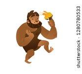 vector sketch caveman walking... | Shutterstock .eps vector #1280780533