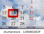calendar with friday the 13 on...   Shutterstock . vector #1280802829