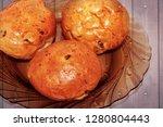 buns in a dark plate   Shutterstock . vector #1280804443