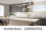 modern white and gray kitchen... | Shutterstock . vector #1280806546