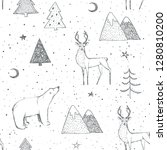 seamless christmas pattern with ... | Shutterstock . vector #1280810200