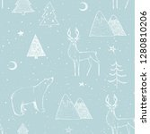 seamless christmas pattern with ... | Shutterstock . vector #1280810206