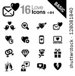 basic   love and dating icons | Shutterstock .eps vector #128081840