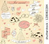 vintage wedding set. vector... | Shutterstock .eps vector #128082284