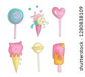 cute funny girl teenager...   Shutterstock .eps vector #1280838109