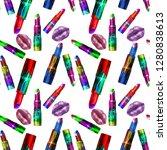 textured lips and lipstick...   Shutterstock . vector #1280838613