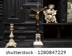 vintage figurines on an ancient ... | Shutterstock . vector #1280847229