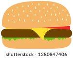 hamburger icon. flat style.... | Shutterstock .eps vector #1280847406