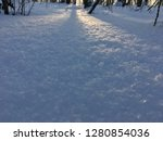 sunlights in winter forest snow | Shutterstock . vector #1280854036