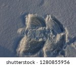 traces of  in the snow. | Shutterstock . vector #1280855956