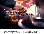 dj mixes the track in the... | Shutterstock . vector #1280871313