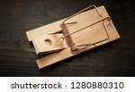 High Angle Of Wooden Mousetrap...