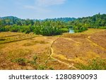 the hilly landscape with fields ... | Shutterstock . vector #1280890093