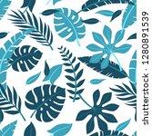 tropical vector green leaves... | Shutterstock .eps vector #1280891539