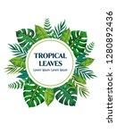 trendy summer tropical leaves... | Shutterstock .eps vector #1280892436
