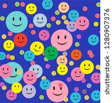 blue background happy smiley... | Shutterstock .eps vector #1280907376