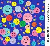 blue background happy smiley...   Shutterstock .eps vector #1280907376