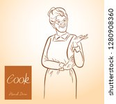 lady chef. cooking. vintage... | Shutterstock .eps vector #1280908360