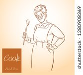 lady chef. cooking. vintage...   Shutterstock .eps vector #1280908369