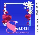 trendy template 8 march. neon... | Shutterstock .eps vector #1280911723