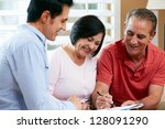 financial advisor talking to... | Shutterstock . vector #128091290