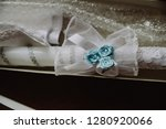 close up on candle for baptism | Shutterstock . vector #1280920066