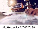 businessman hands working with...   Shutterstock . vector #1280920126