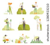 people caring for plants in the ... | Shutterstock .eps vector #1280923210