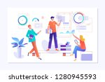 people work in a team and... | Shutterstock .eps vector #1280945593