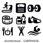 vector black fitness and sport... | Shutterstock .eps vector #128094656
