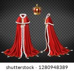 kings royal robe with cape and... | Shutterstock .eps vector #1280948389