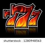 triple lucky blazing sevens... | Shutterstock .eps vector #1280948563