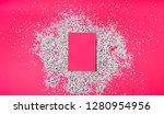 blank pink nootebook with red... | Shutterstock . vector #1280954956